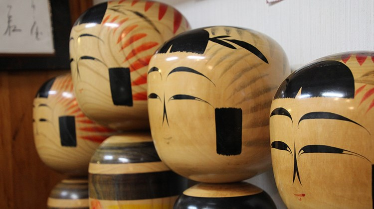 Kokeshi dolls at a shop in the Akiyu craft center.