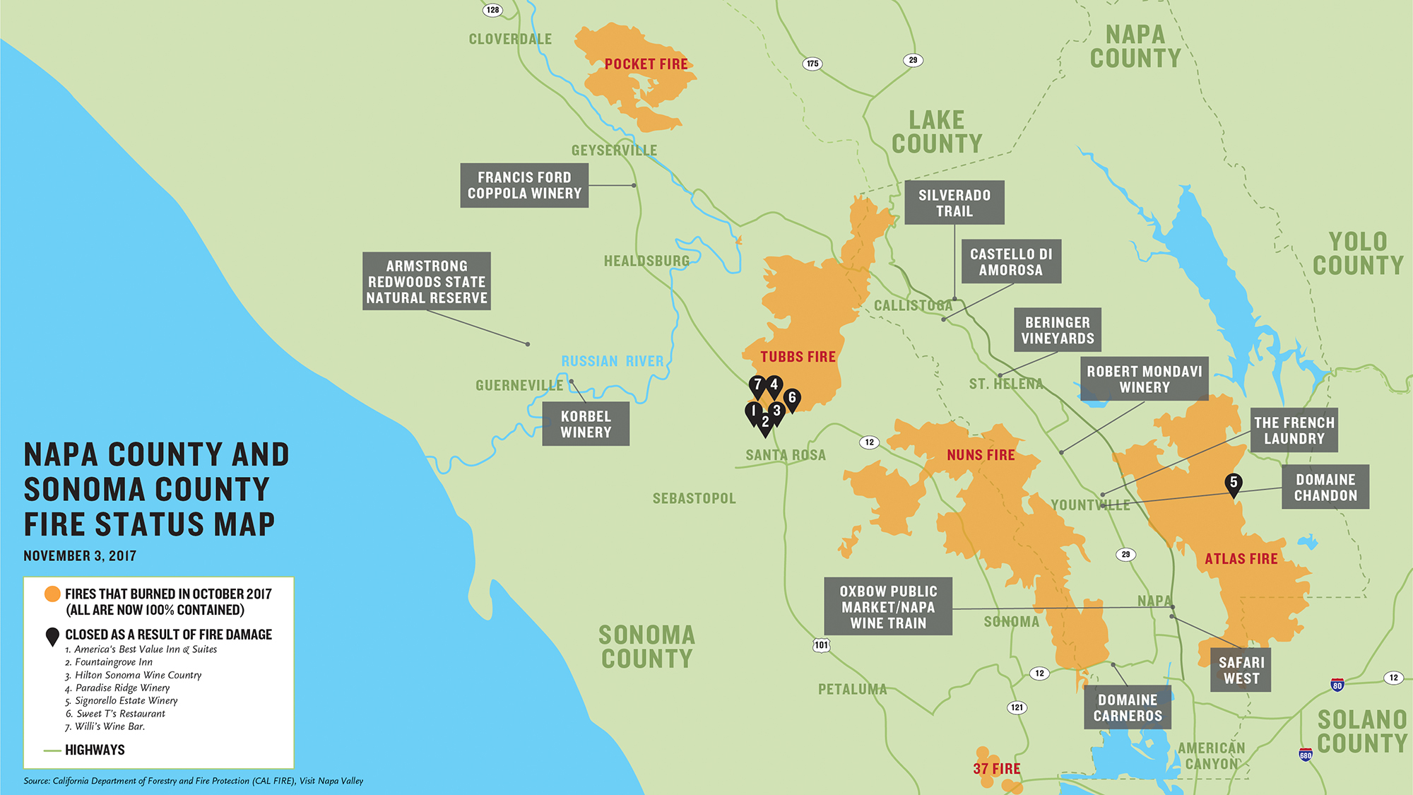 What S Open And Closed In Napa And Sonoma Mapped Travel Weekly