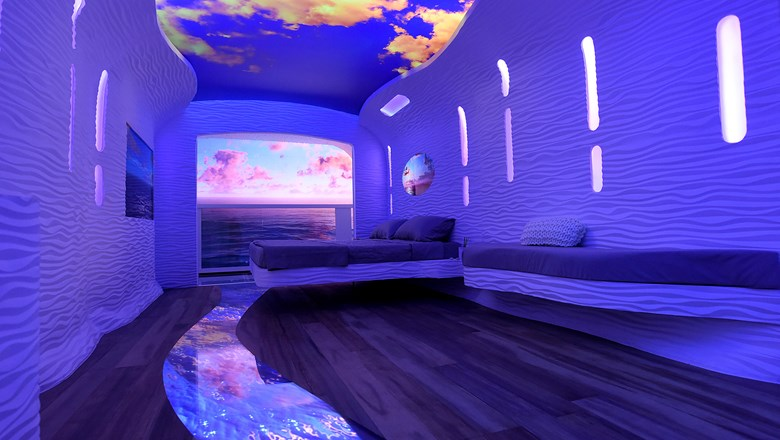 Royal Caribbean's vision of the inside cabin of the future, with virtual balcony.