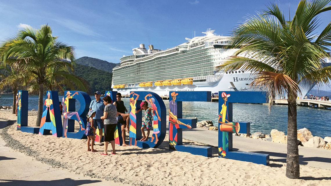 The giant Labadee sign is a good spot to pose for photos. Photo Credit: TW photo by Tom Stieghorst