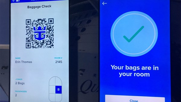 Royal Caribbean demonstrated its upcoming luggage app.