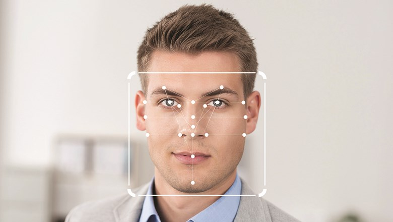 An image provided by the travel technology company SITA illustrates how a biometrics system might map the features of a human face.
