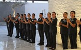 The staff of Le Blanc Spa Resort Los Cabos, scheduled to open early next year, greets summit attendees during a site inspection.