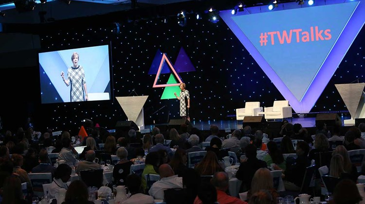 Jackie Friedman, president of Nexion, delivers the first of three TW Talks for the day at CruiseWorld.<br /><br /><strong>Photo Credit: Creative Focus</strong>