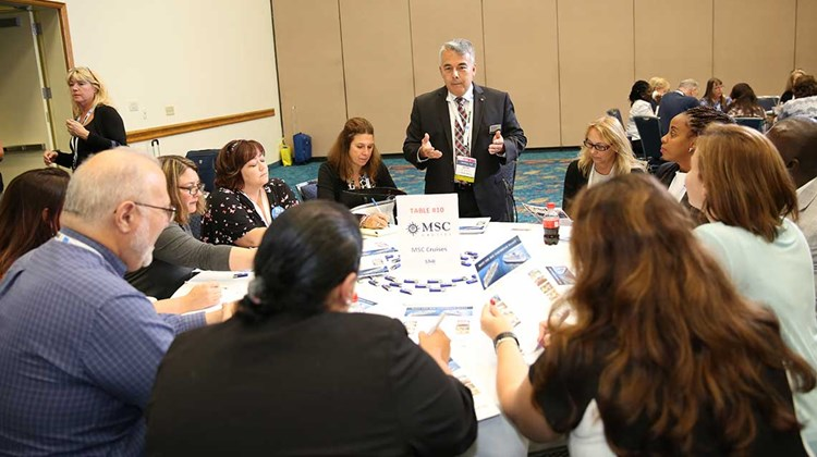 Wayne Peyreau of MSC Cruises presents to an intimate group of STAR Program participants during CruiseWorld&#39;s new STAR Showcase.<br /><br /><strong>Photo Credit: Creative Focus</strong>