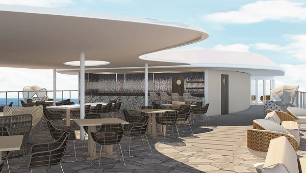 A rendering of the Darwin Deck Bar on the Celebrity Flora.