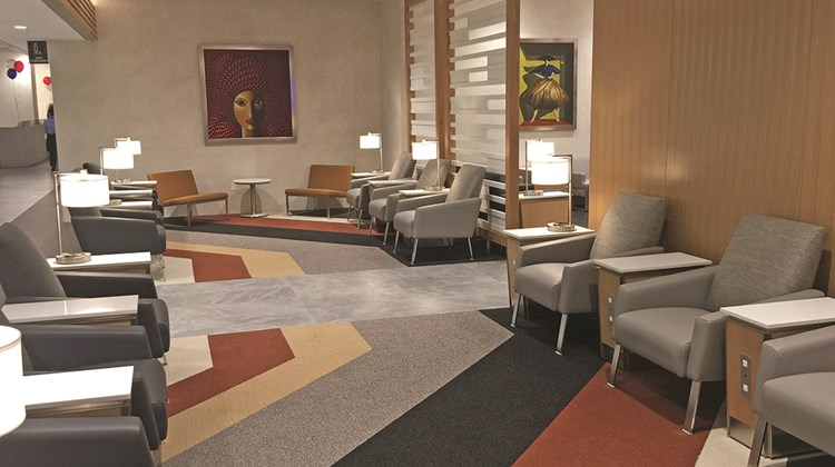 Art and stylish decor dot the lounge, which has seating for approximately 475 people -- and all the power ports that patrons could ever need.