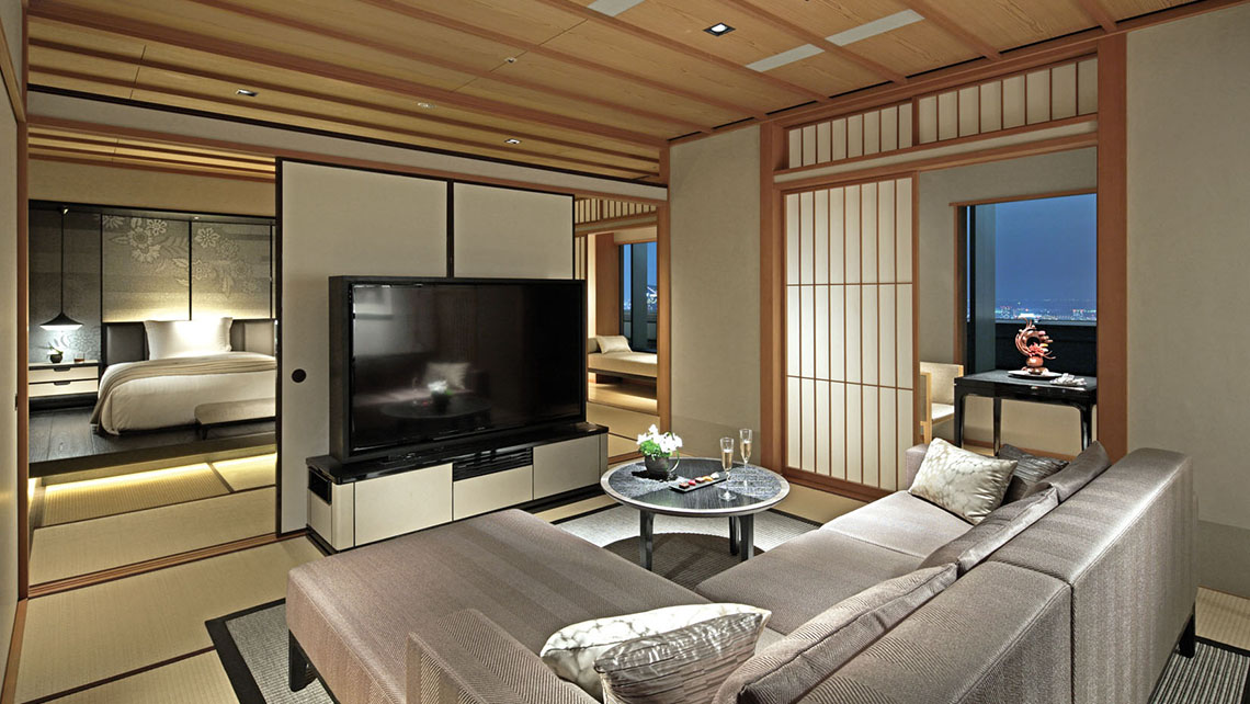 The Ritz-Carlton Tokyo's Modern Japanese suite, which takes design cues from rooms hosting tea ceremonies.