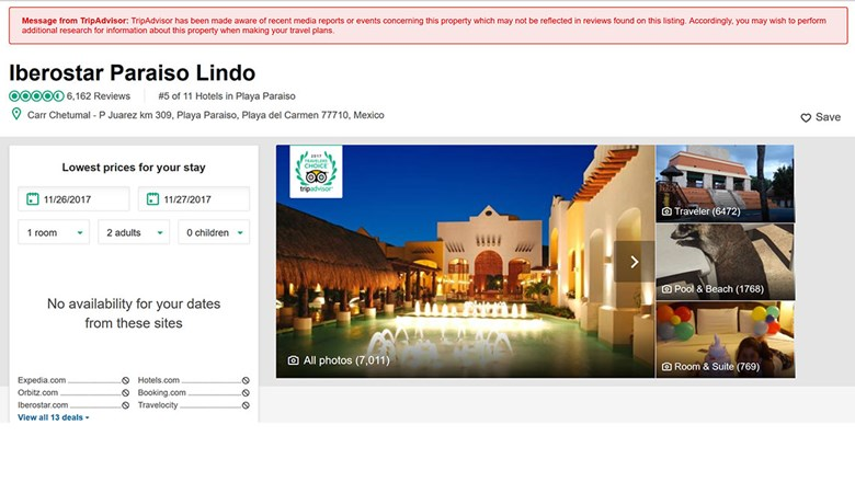 A screen shot showing TripAdvisor's vague warning atop the review page for Iberostar Paraiso Lindo.
