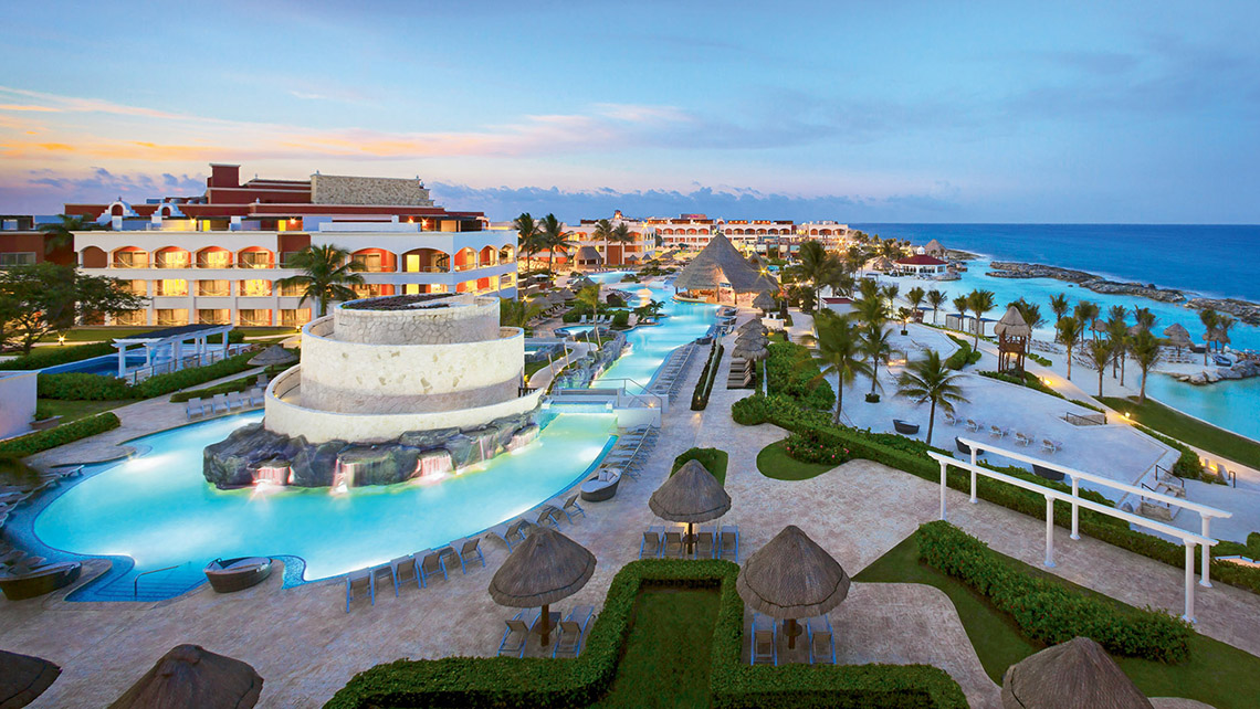 An aerial view of the 1,264-room all-inclusive Hard Rock Hotel Riviera Maya, which is divided into all-ages and adults-only sections.