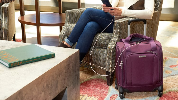 What's New, What's Hot is Travel Weekly's look at useful and fun travel gadgets, edited by Joe Rosen. First up, the Samsonite Underseater from eBags. This easily maneuverable spinner has an integrated charging port to coordinate with your electronic gadgets and is small enough to fit under an airline seat while still powering up your phone, tablet or laptop. Weighing only 7 pounds, it boasts multiple zippered exterior pockets, a front-pocket organizer and several interior pockets. Sleeves for a tablet and laptop complete the package.