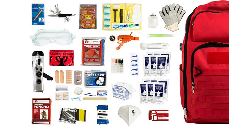 It is one thing to take precautions when heading out for a trip. It is quite another to arm yourself for the ultimate calamity. But if ''Be Prepared'' is your motto, consider an over-stuffed Earthquake Bag packed with the essentials to keep two persons functioning for three days. In addition to a heavy-duty backpack, it includes two food bars; water pouches and water-purification tablets; a hygiene kit; a candle and bright stick; a hand-crank charger; a whistle; nylon rope; a first-aid kit; and two Mylar sleeping bags and a tube tent.