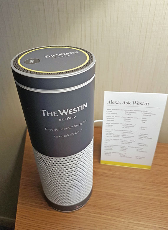 An Amazon Echo branded for the Westin Buffalo and its user's guide.