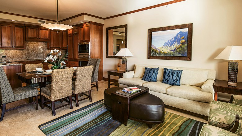 The living room in a spacious two-bedroom Luxury Villa at Koloa Landing.