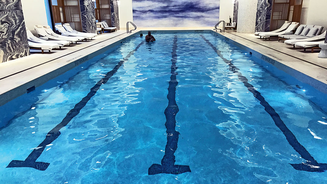 The Four Seasons New York Downtown's large indoor pool. Photo Credit: TW photo by Rebecca Tobin