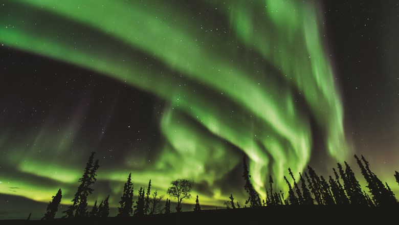 The aurora season in Fairbanks stretches from mid-August to mid-April.