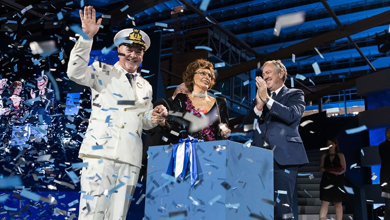 From left, MSC Seaside Capt. Pier Paolo Scala, godmother Sophia Loren and MSC executive chairman Pierfrancesco Vago.