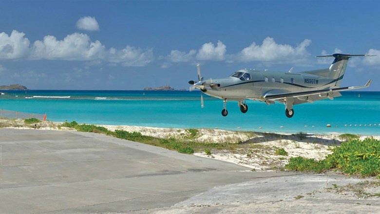 A Tradewind Aviation aircraft landing in St. Barts.