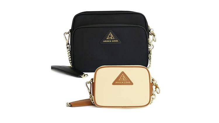 This line of stylish travel bags is designed to protect your belongings from both bad weather and bad actors. Constructed with waterproof nylon and zippers, the Arden Cove Travel Crossbody: boasts an RFID-blocking, built-in wallet; locking zippers; a cut-proof, detachable strap; and slash-resistant fabric lining. A crossbody combo pack features a full-size bag that includes credit card and bill slots, two wall pockets and an interior D-ring to attach a keychain, and a mini bag with several of the same attributes.