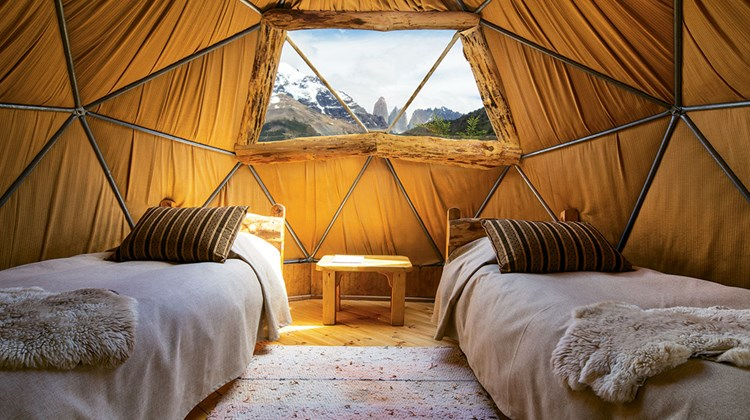Geodesic tented domes provide cozy accommodations with a view at EcoCamp, the region's first fully sustainable accommodations.<br /><br /><strong>Photo Credit: EcoCamp Patagonia</strong>