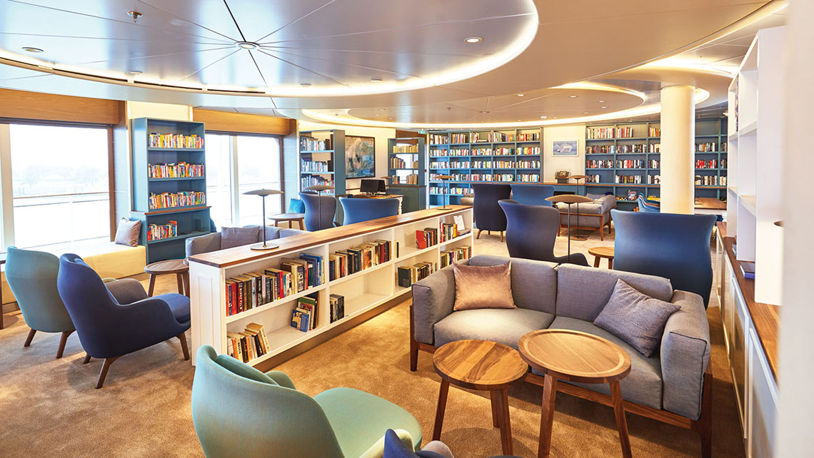 The ship's library has been relocated to the Belvedere room, opening space for a future cruise sales center.
