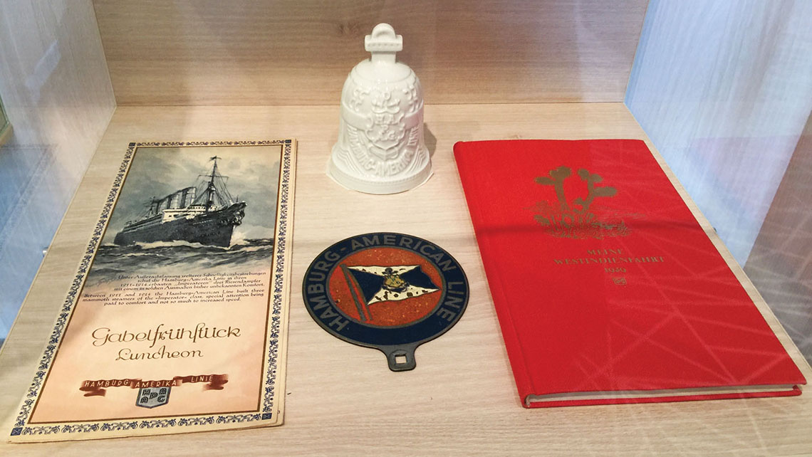 Hapag-Lloyd historical items on display in the sales center. Photo Credit: TW photo by Tom Stieghorst