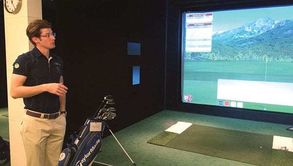 One of two golf simulators on the Europa 2. The ship employs multiple golf pros on some cruises.