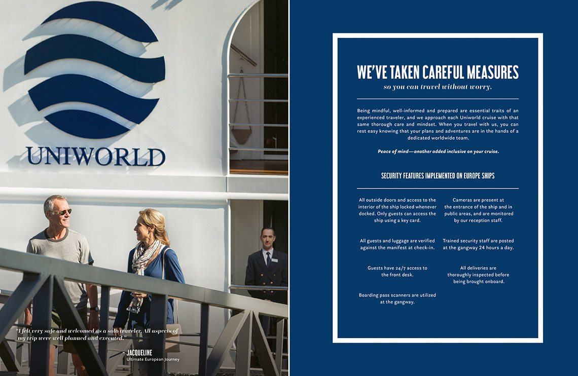 A Uniworld brochure displaying the river cruise line's security measures, which include the use of strict keycard access, uniformed security personnel, security camera systems and regular ship patrols.