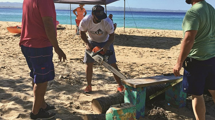 Cleanup efforts at Crash Boat Beach in Aguadilla, Puerto Rico.<br /><br /><strong>Photo Credit: TW photo by Johanna Jainchill</strong>