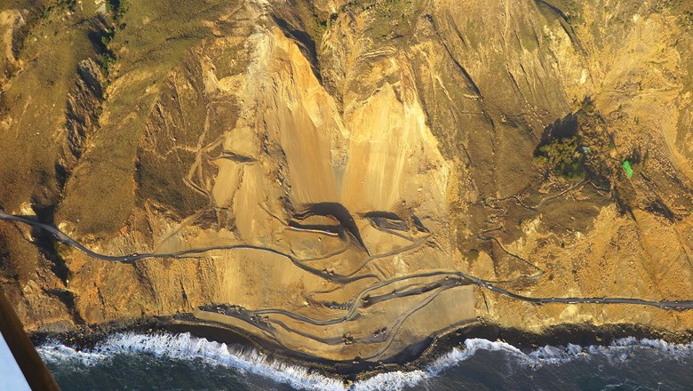 The Mud Creek Slide buried a quarter-mile stretch of Highway 1, effectively closing off the Big Sur region to the south.