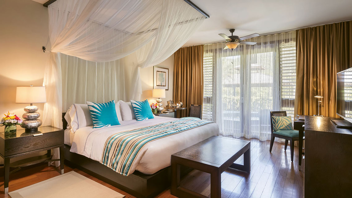 A Marigot Bay resort-view room. Rooms measure 913 square feet, while suites start at 1,345 square feet.
