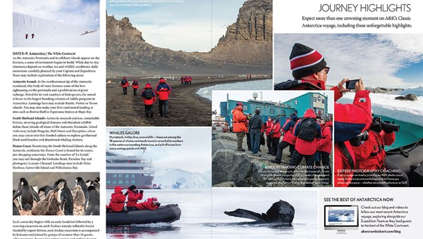 A page from Abercrombie & Kent's 2018 Antarctica brochure, which is more of an editorial product than its 20th century predecessors.