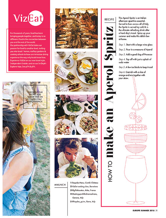 A foodie-focused section of Contiki's brochure.