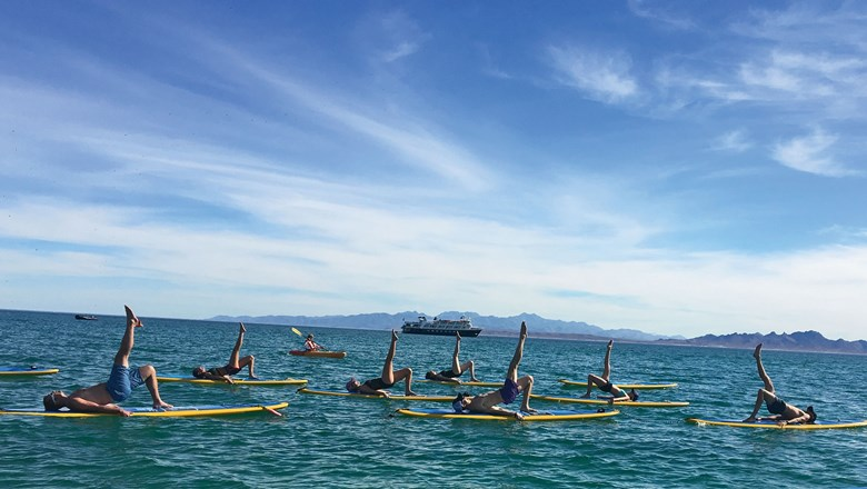 Stand-up paddleboard yoga, an activity on Lindblad's wellness cruise.