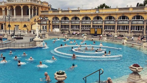 Budapest's Szechenyi Thermal Baths is ideal for people-watching. Fed by two thermal springs, the bathhouse is more than a century old.