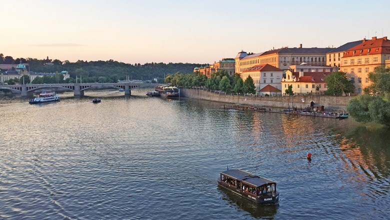 Prague's Old Town is bathed in the glow of the setting sun. The city is a popular draw on Danube River cruises.