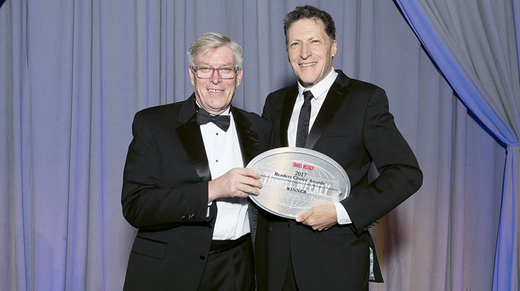 Hertz Corp.'s Maurice Honor with Travel Weekly's Arnie Weissmann. Hertz won both the International and Domestic awards in the Car Rental category.