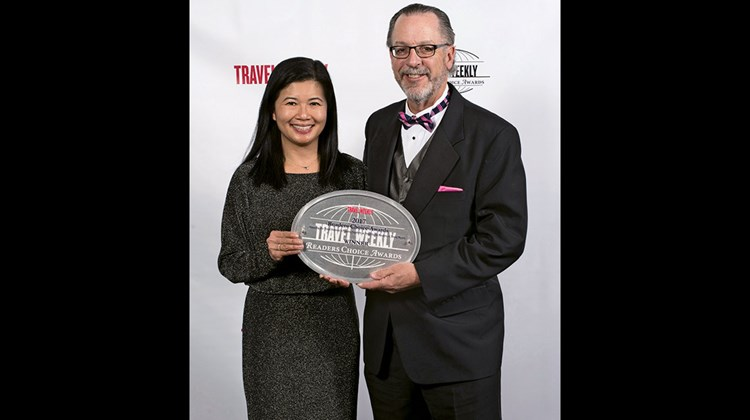 Jennie Ho and Steve Diggelmann of Delta Vacations, winners in the Domestic Packaged and Packaged Overall categories.
