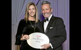 Trafalgar's Melissa da Silva with Travel Weekly's Bruce Shulman. Trafalgar won in the categories of Domestic Escorted and International.