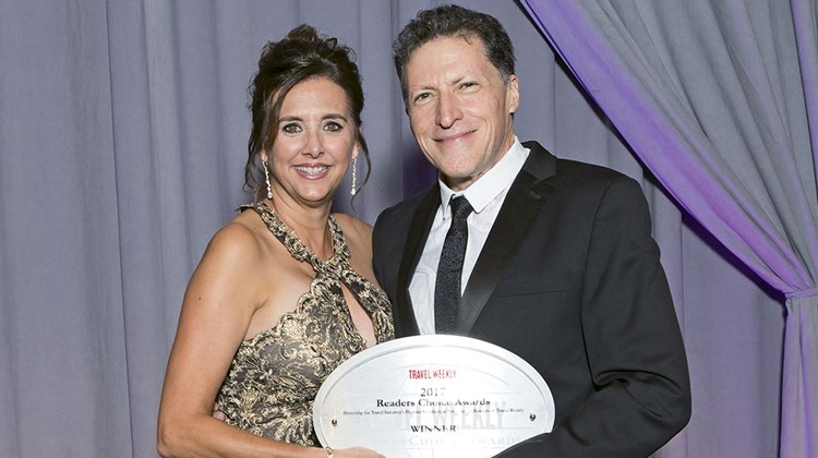 Celebrity Cruises' Dondra Ritzenthaler and Travel Weekly's Arnie Weissmann. Celebrity took home Readers Choice Awards in the categories of Europe, Premium and Cruise Ship: Premium (for the Celebrity Reflection).
