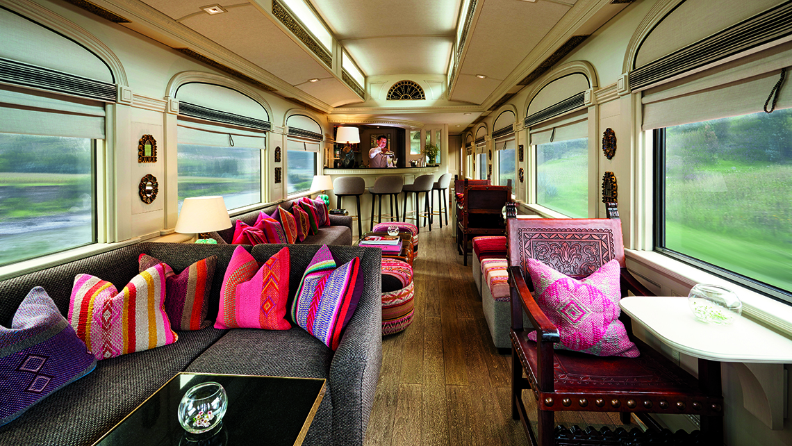 The bar car in the Belmond Andean Explorer, launched in 2017, is appointed with colorful textiles.