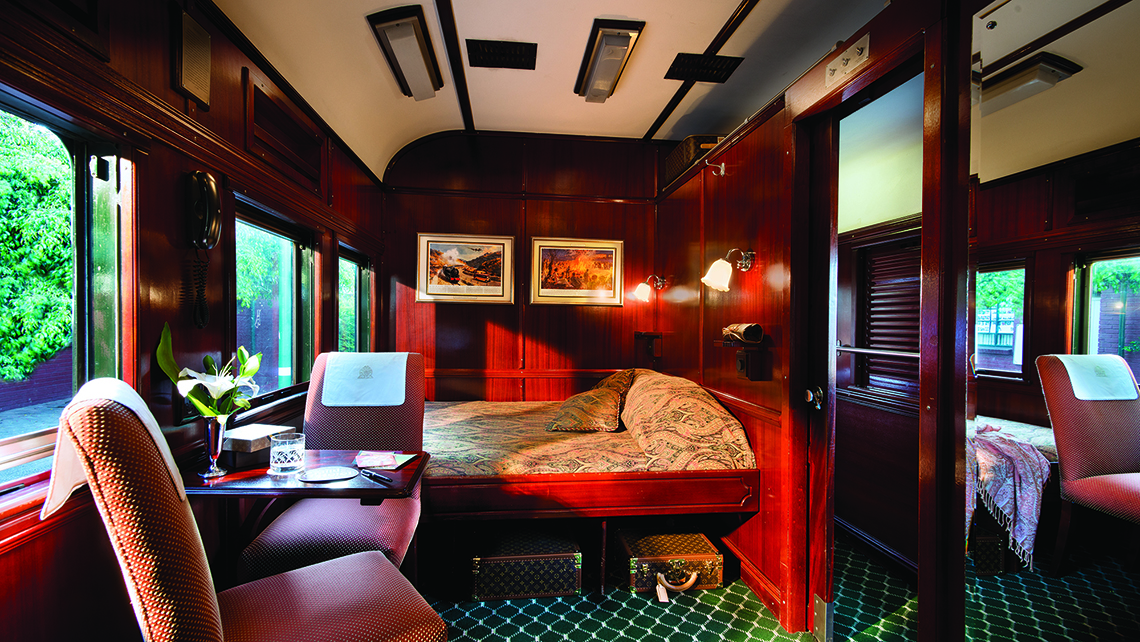 A deluxe cabin on a Rovos Rail train.