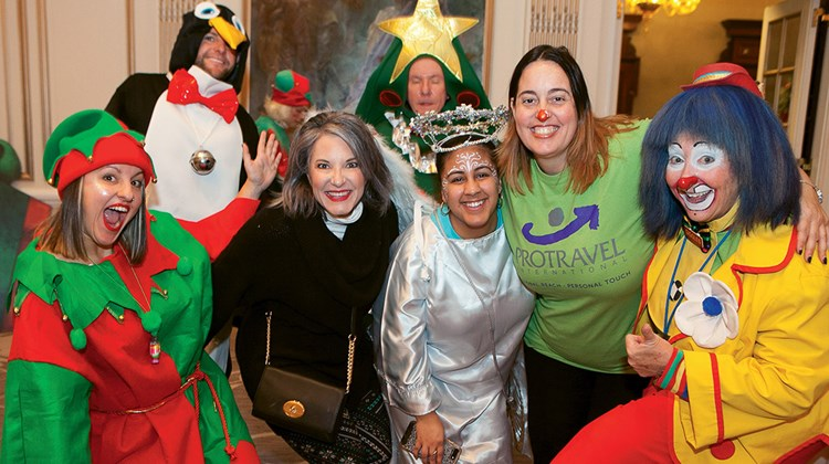 During Protravel's annual holiday party for children with brain tumors, many employees got into the holiday spirit, volunteering and even dressing as characters. Those in attendance included Protravel agent Ashley Les; Gail Grimmett, president of premium brands for Travel Leaders Group; and Protravel's Karina Batista and Arlene Feen.