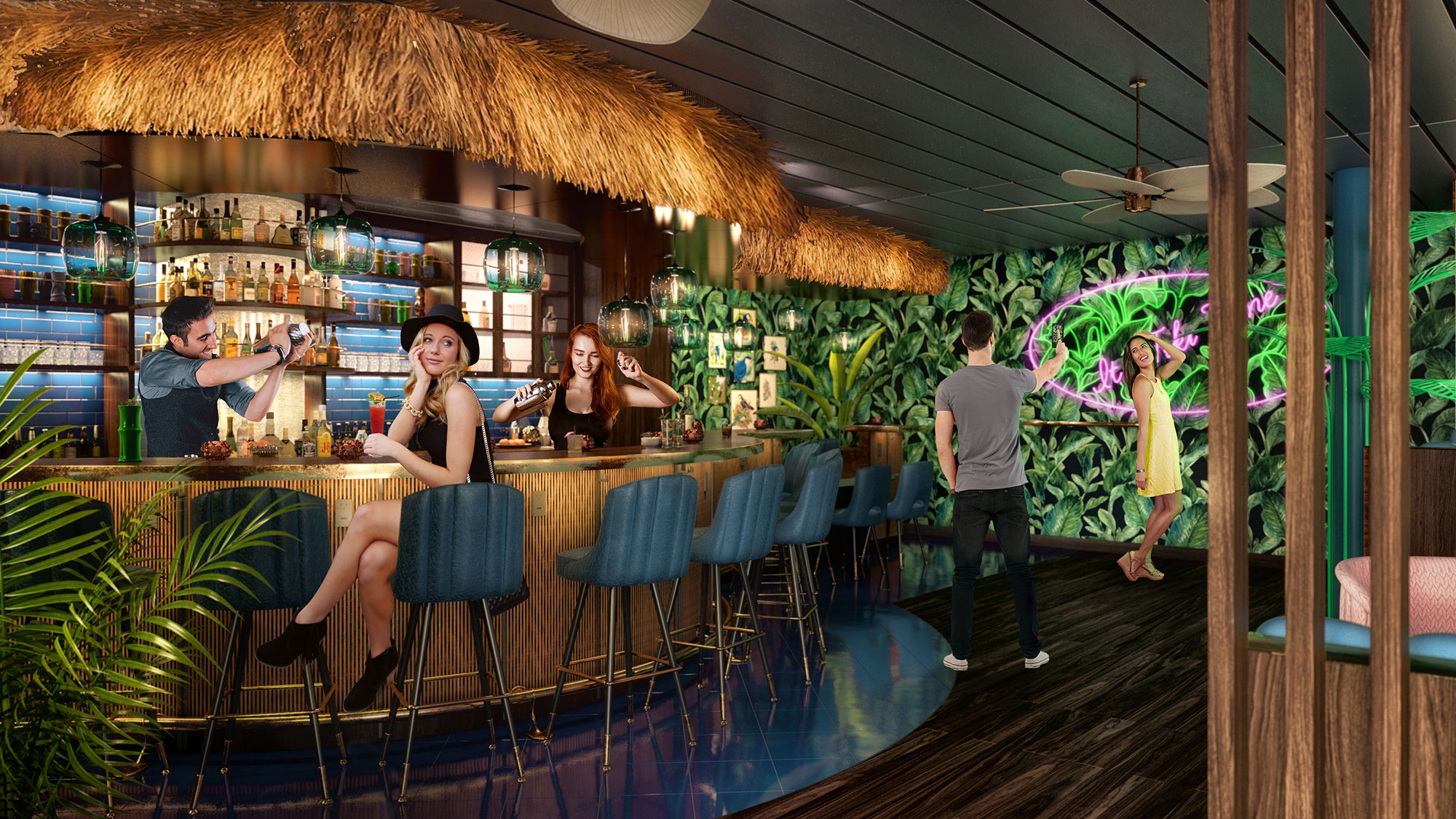 Trampoline attraction part of mariner of the seas makeover for Tiki room decor