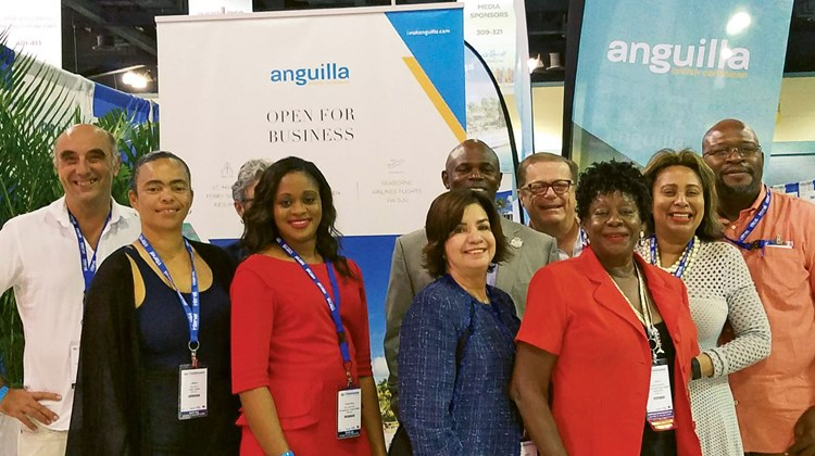 Team Anguilla had a strong presence at the Caribbean Hotel and Tourism's Marketplace in San Juan. Pictured, from left: Rolf Masshardt, Carimar Beach Club; Janine Edwards, Sunset Homes; Chantelle Richardson, Anguilla Tourist Board (ATB) head office; Raquel Echandi, ATB South America; Cardigan Connor, parliamentary secretary, tourism; Frank Pierce, Zemi Beach House; Gilda Gumbs-Samuel, Anguilla Hotel & Tourist Association; Marie Walker, ATB North America; and Will Fleming, Anguilla Great House.