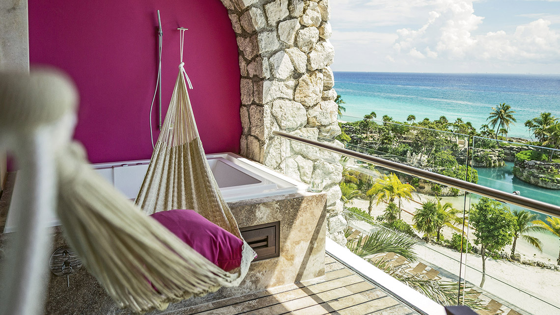Accommodations at the Hotel Xcaret Mexico feature either a balcony or swim-up terrace.