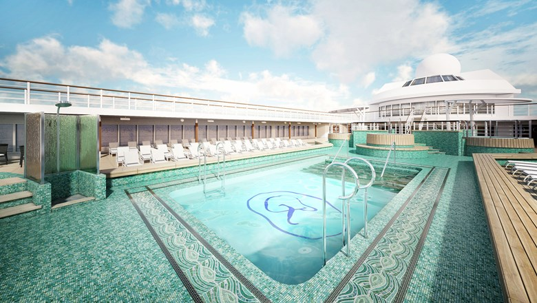 The pool deck on the Regent Seven Seas Mariner will be redesigned and refurbished.