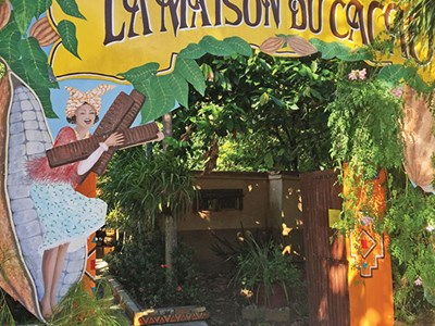 The Maison du Cacao exhibit and shop in a former cocoa plantation in Pointe-Noire, Basse-Terre.