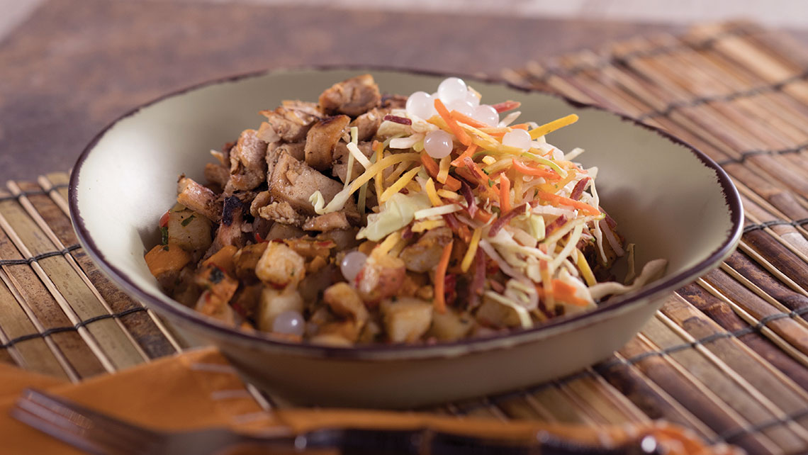 Satu'li Canteen in the Pandora — The World of Avatar land at Disney World's Animal Kingdom serves nutritious dishes such as beef, chicken, fish or tofu bowls with veggies atop grains such as quinoa.