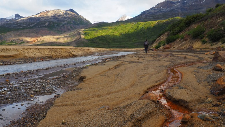 A hiker in Wrangell-St. Elias National Park.